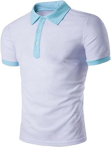 Tefamore Camiseta Hombre, Camisa Polo Blusa De Manga Corta De Verano De Moda Ajustado Sólidos Ropa De Deportes (S, Blanco): Amazon.es: Ropa y accesorios