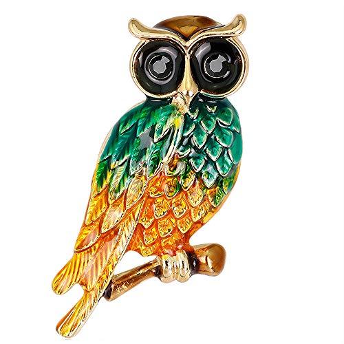 Stylebar Women Branch Owl Brooch Pins Green Brooches Bird Broaches for Women Girls Orange Enamel Gold Tone