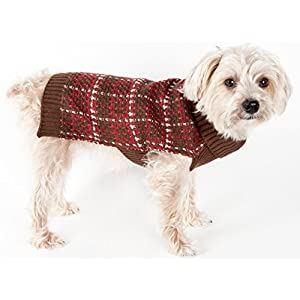 PET LIFE 'Vintage Symphony' Static Fashion Designer Knitted Pet Dog Sweater, Medium, Mud Brown, Red and White Click on image for further info.