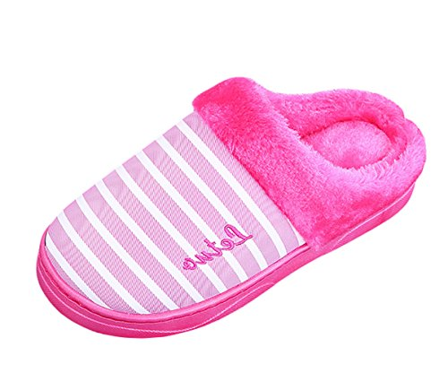 ICEGREY Damen Winter Warme Hausschuhe Streifen Muster Plüsch Fleece Gemütliche Wärmehausschuhe Pantoffeln Rosa Rot 36 37