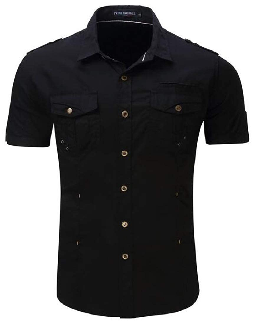 X-Future Men Short Sleeve Pocket Loose Fit Military Button Down Outdoor Shirt Top
