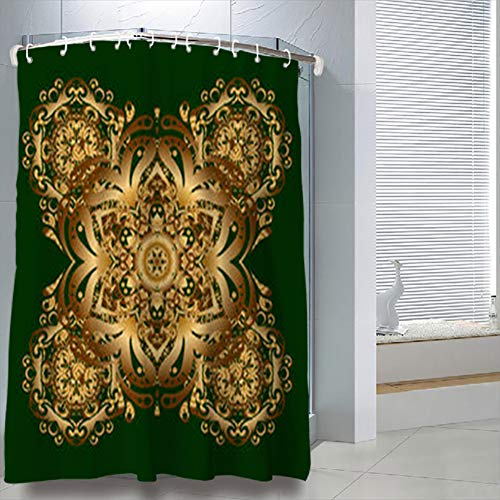LeeYES Shower Curtains 66 x 72 inches Golden Mandala Shape On Green Vintage Peacock Waterproof Polyester Fabric Bathroom Curtain Bath Sets with Free Hooks ()