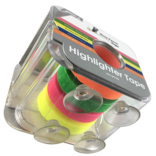 GreyParrot Tape Fluorescent Neon Highlighter Tape Removable, (4 Colors) (2 Pack), 0.35in(9mm) x 790in Per Roll, Office/Craft Tape/Yellow, Orange, Green, Pink by GreyParrot Tape (Image #2)