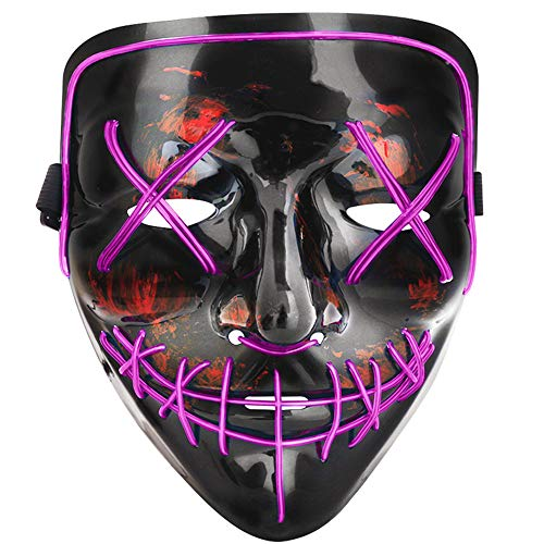 Scary Cosplay Costumes (Tcamp Halloween Scary Mask LED Cosplay Costume Mask El Wire Light Up Mask for Halloween Festival Party)