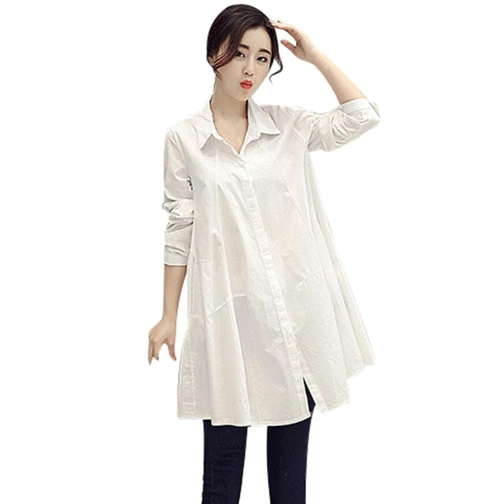 Toimoth Women Long Sleeve Solid Button Turn-Down Collar Work Long Shirt Top Blouse(White,S)