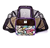 Double Expandable Luxury Dog and Cat Pet Carrier Airline Approved - Foldable with Fleece Bedding (large, black/floral) Larger Image