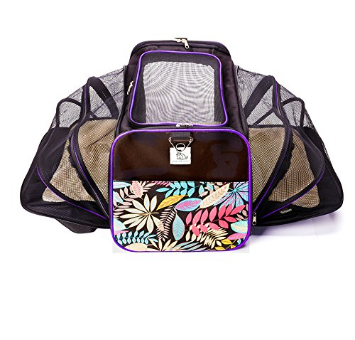 Double Expandable Luxury Dog and Cat Pet Carrier Airline Approved - Foldable with Fleece Bedding (large, black/floral)