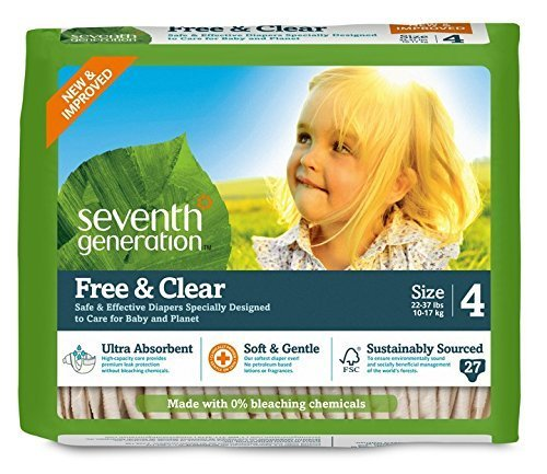 Seventh Generation Free and Clear, Unbleached Baby Diapers, Size 4, 135 Count, Packaging May Vary by Seventh Generation