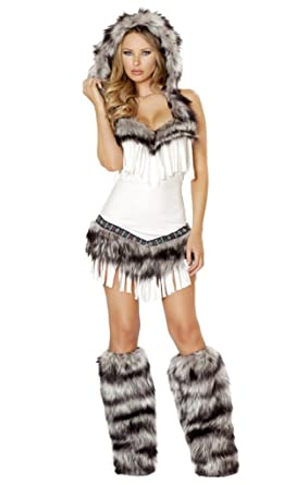 1cbbbf7faa Amazon.com  Sexy Fringe Fur Indian Romper Halloween Costume  Clothing