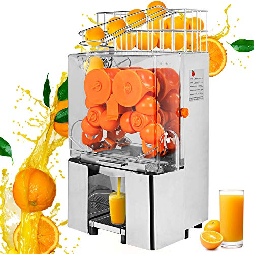 VBENLEM 110V Electric Orange Juicer Commercial Squeezer Machine Lemon Automatic Auto Feed Perfect for Drink Bar and Home Supermarkets 22-30 Per Minute 304 Stainless Steel Tank and PC Cover