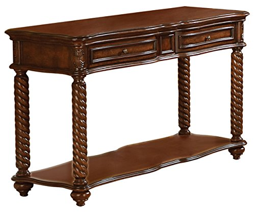 Homelegance Trammel Sofa Table with Drawers and Shelf, Mahogany -