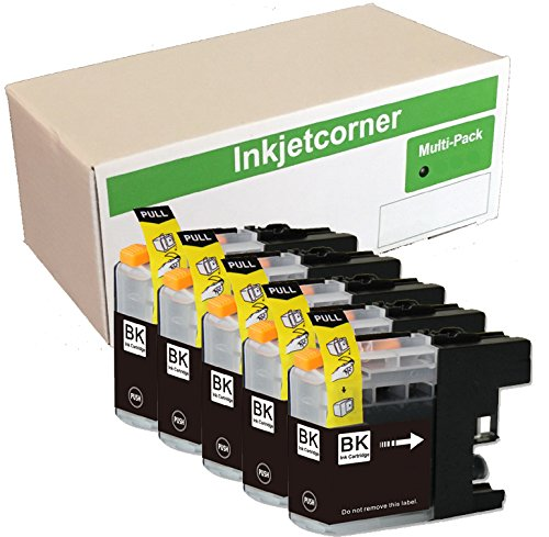 Inkjetcorner 5 Pack Black Compatible Ink Cartridges Replacement for LC203 LC203XL MFC-J460DW MFC-J480DW MFC-J485DW MFC-J680DW MFC-J880DW MFC-J885DW