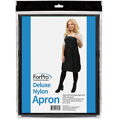 Nylon Apron - ForPro 440552 Deluxe Nylon Apron, 100% Waterproof, Lightweight Pockets and Two Slots for Combs and Shears, 32