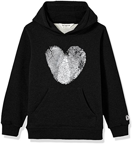 Knit Hooded Pullover - Kid Nation Kid's Graphic Hoodie Sweatshirt for Boys or Girls XS Black