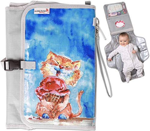 (Portable Baby Diaper Changing Pad Station Clutch with Matching Pacifier and Toy Case Strap and Pouch Bag (Special Edition Kitty Cat))