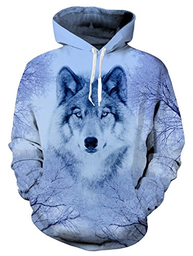 Pullover Big Hoodie Hooded Pockets Sweatshirt Casual Awolf With mwyNnO8v0