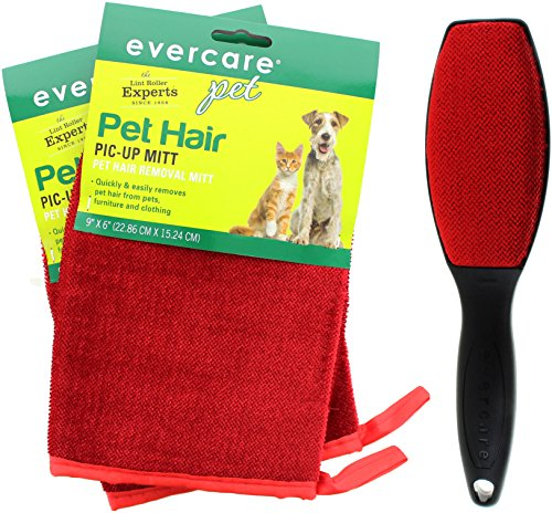Remover Mitts - Evercare Pet Hair Remover Glove Pic-Up Mitt (2) and Magic Lint Brush (1) for Pets Clothes Furniture and Travel