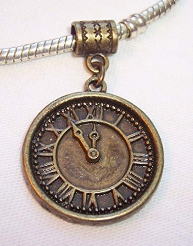 Clock Time Piece Bronze Tone Dangle Bead fits European Style Charm Bracelets Jewelry Making Supply by Wholesale Charms