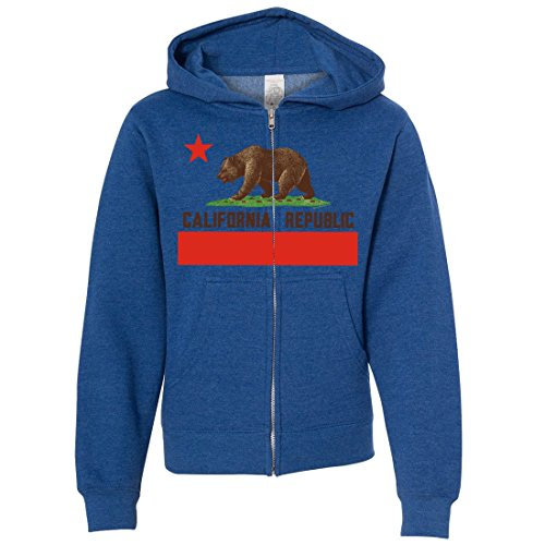 Dolphin Shirt Co California Republic Bear Flag Brown Text Youth Zip-Up Hoodie - Royal Heather Medium ()
