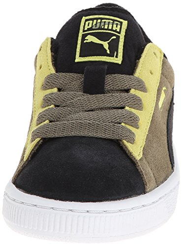 Puma Suede Black Green Youths Trainers Black/Burnt Olive/Sulphur Spring