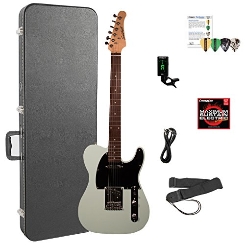 Sawtooth ST-ET-SGRB-KIT-6 Electric Guitar Kit, Surf Green with Black Pickguard & ChromaCast Hard Case