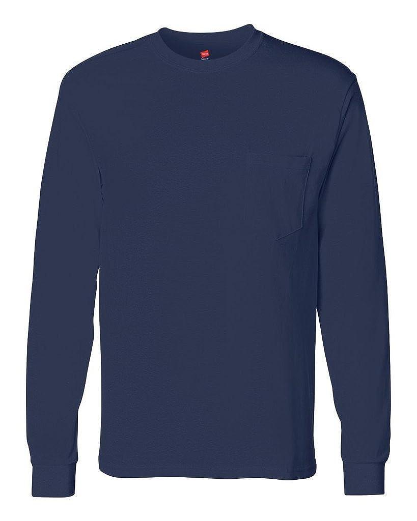 1343a5e5444d Amazon.com: Hanes Men's Tagless Long Sleeve Tee with Pocket: Clothing