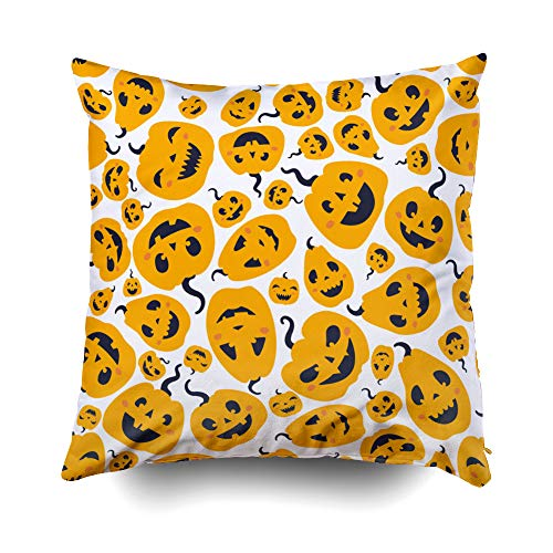 Musesh Halloween Pumpkins Carved Faces Cushions Case Throw Pillow Cover for Sofa Home Decorative Pillowslip Gift Ideas Household Pillowcase Zippered Pillow Covers 16X16Inch