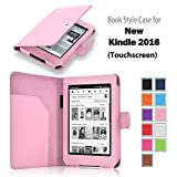 DUNNO Amazon NEW Kindle (8th Generation 2016 Model) 6-inch E-Reader SmartShell Case -Premium PU Leather Folio Case with Auto Wake / Sleep for Amazon Kindle 6-inch Color (Pink)