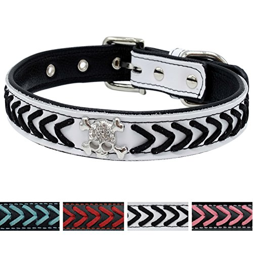 Vcalabashor Braided Leather Dog Collars/Cool Skull Studded/Stylish Braided/Soft Padded Pet Collar/Fits Small Breeds/White & Black/S