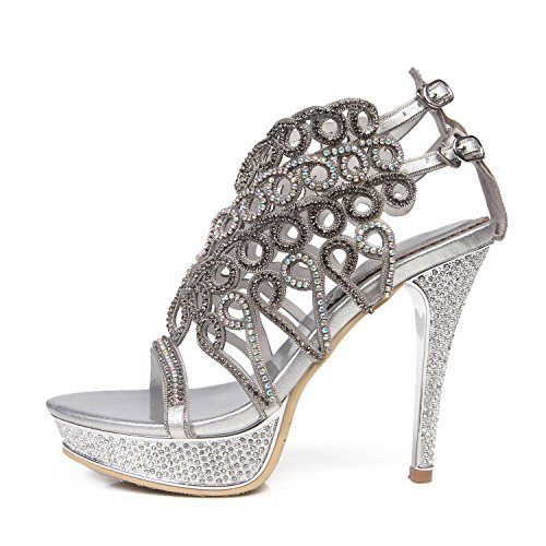 Boots Leather Open Fashion Glitter Silver Sparkling Spring Chain Party Dress Sandals Shoes Women's Summer Rhinestone HUAN Toe for Crystal Buckle fpxY81qEw