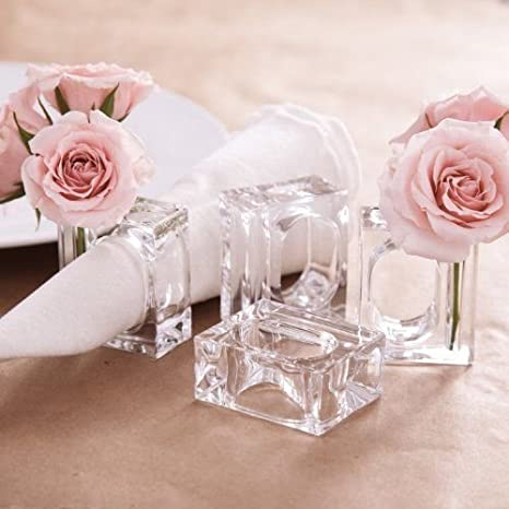 Deco-Mate Acrylic Napkin Rings Bud Vase Flower Holder – Clear - Table Décor, 2-in 1 (Bulk Set) Wholesale (4)