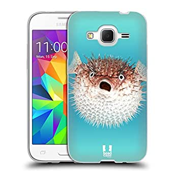 Head Case Designs Frontal View of Porcupinefish Famous Animals Soft Gel Back Case Cover for Samsung Galaxy Core Prime G360