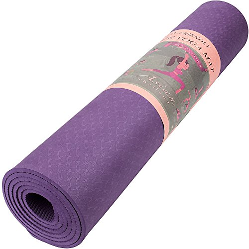 Reehut 1/4-Inch High Density TPE Exercise Yoga Mat for Pilates, Fitness & Workout with Velcro Strap (Purple)
