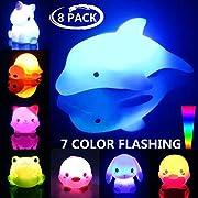 Bath Toys, 8 Packs Light-Up Floating Bathtime Fun Toys, 7 Color Flashing Bathtub Water Toys for Toddlers Kids Infants Boys Girls Animal Toy Set