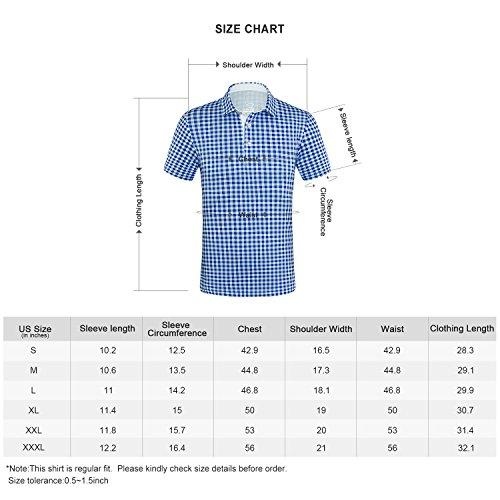 3d3e5e510 EAGEGOF Regular Fit Men's Shirt Stretch Tech Performance Golf Polo Shirt  Short Sleeve S (Blue