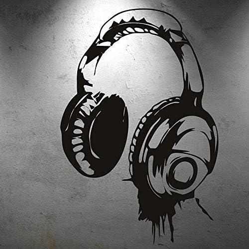 yaonuli Personalidad Diseño Creativo Auriculares de música Aficionado a la música Etiqueta de la Pared Dormitorio Sala de música Etiqueta de la Pared Decorativa 52x42cm