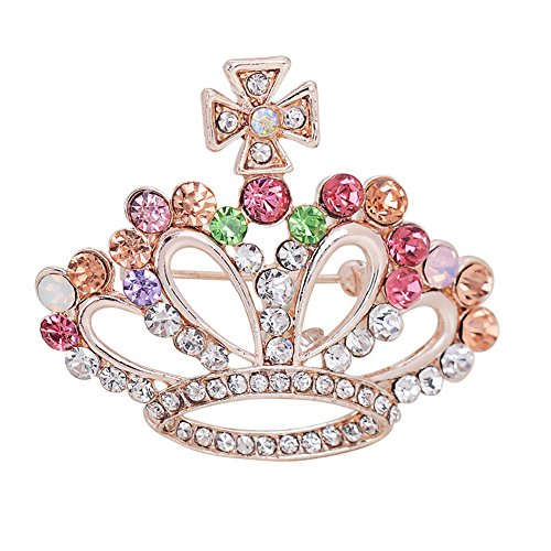 Super Colorful Crystal Crown Cross Brooch Pin for Women Girls Wedding Gift (Colorful) - Cross Crown Pin