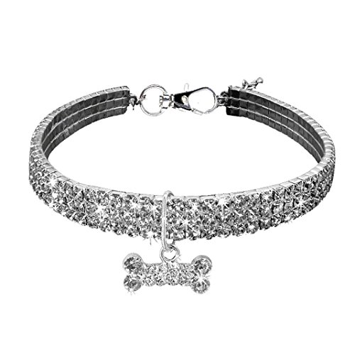 Necklace for Small Dog Girl Wakeu Rhinestone Bling Collars with Bone Pendant (L, Silver) (Dog Bone Collar Charm)