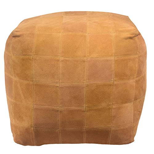 Mohr and McPherson 18 Inch Square Suede Upholstered Patchwork Cube Pouf or Ottoman in Mustard Yellow Finish