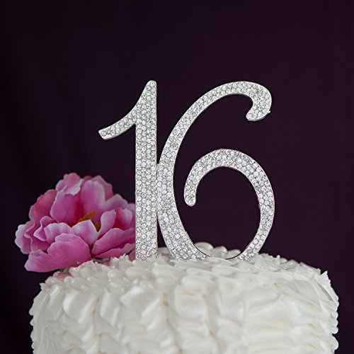 Ella Celebration 16 Cake Topper 16th Birthday Party Supplies Decoration Ideas Silver Rhinestone Number (Sweet 16 Party Favors Ideas)