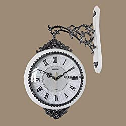 CGGHY 16-Inch Wall Clock Resin Living Room Wall Clock European-Style Double-Sided Hanging Table Creative Mute Modern Simple Quartz Clock Two-Sided Table Crossing Wujin