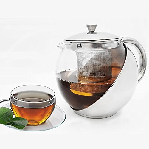 Glass Teapot Kettle With Removable Mesh Strainer Infuser Is Perfect For Making Great Infused Brewed Tea, With A Polished Finish This Glass and Stainless Steel Tea Maker Would Make A Great Addition!