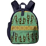 Africa American Girl Pattern Double Zipper Waterproof Children Schoolbag With Front Pockets For Youth Boys Girl