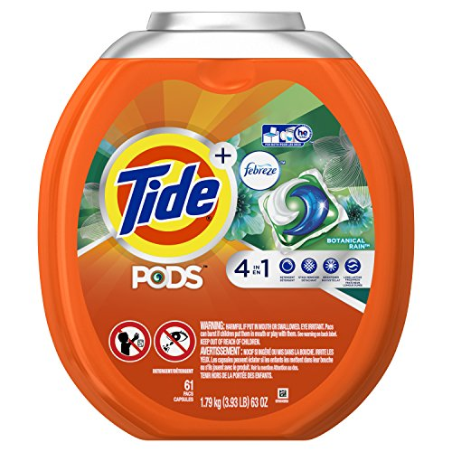 Tide PODS 4 in 1 HE Turbo Laundry Detergent Pacs, Botanical Rain Scent, 61 Count Tub (Packaging May Vary)