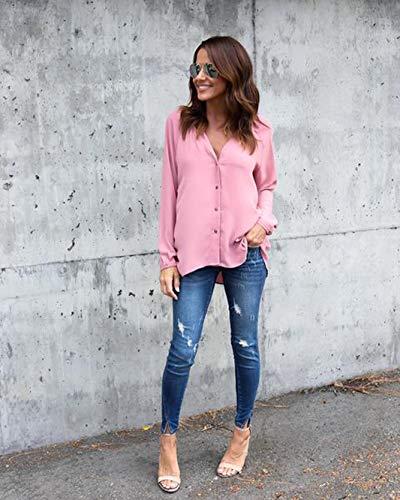 Avanon Manches clair Blouse Chemise Femme Rose Automne Top Fermeture Mousseline Longues Shirts de Bouton rF5rUwq