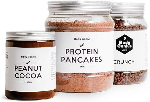 BODY GENIUS Pack Desayuno Proteico (Chocolate) Crema de Cacahuete ...