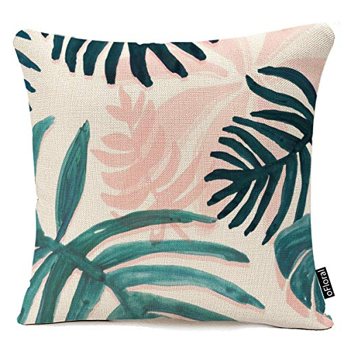 - oFloral Throw Pillow Covers Vintage Palm Banana Leaves Pillowcases Cotton Linen 18 x 18 Inch Square with Hidden Zipper Home Sofa Cushion Decorative Pillowcase