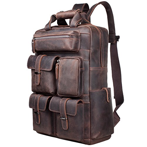 S-ZONE Vintage Crazy Horse Genuine Leather Backpack Multi Pockets Travel Sports Bag by S-ZONE (Image #1)