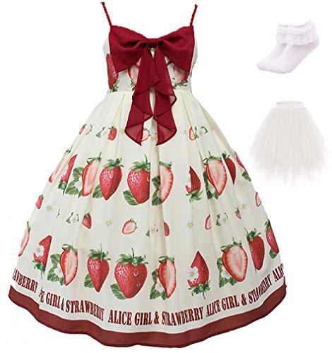 Topin Girl's Japanese Anime Lolita Dress Cute Loli Summer Daily Dress 2020