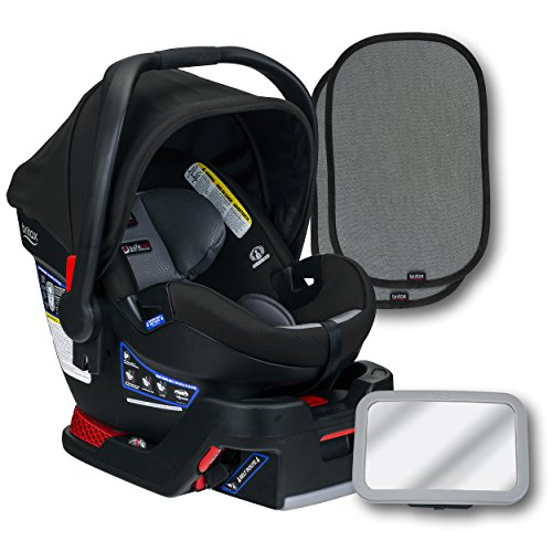 Britax B-Safe Ultra Infant Car Seat, Noir, Back Seat Mirror, and 2 EZ-Cling Window Sun Shades